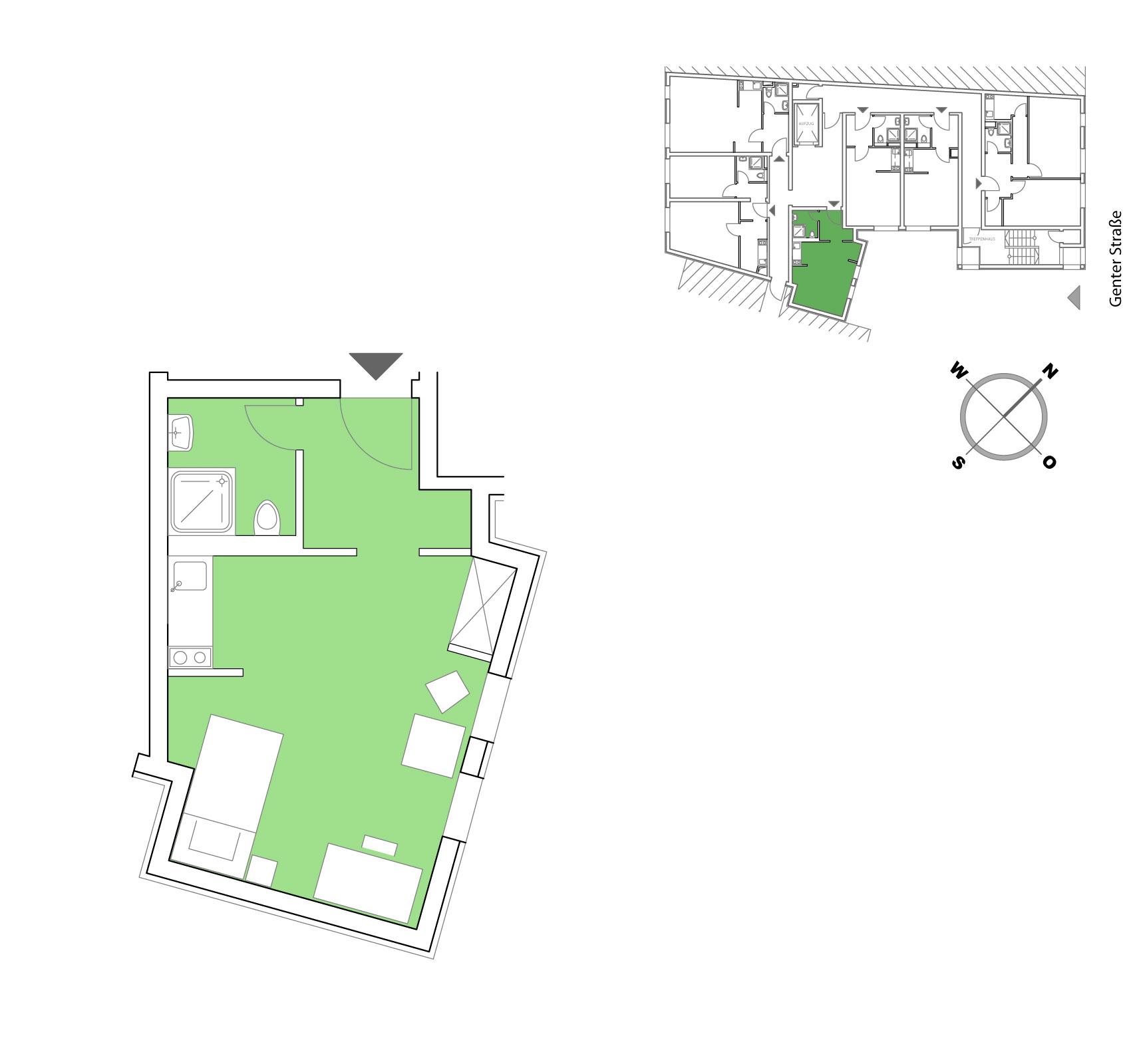 Grundriss Möblierte Apartments in Berlin 25,00 m²