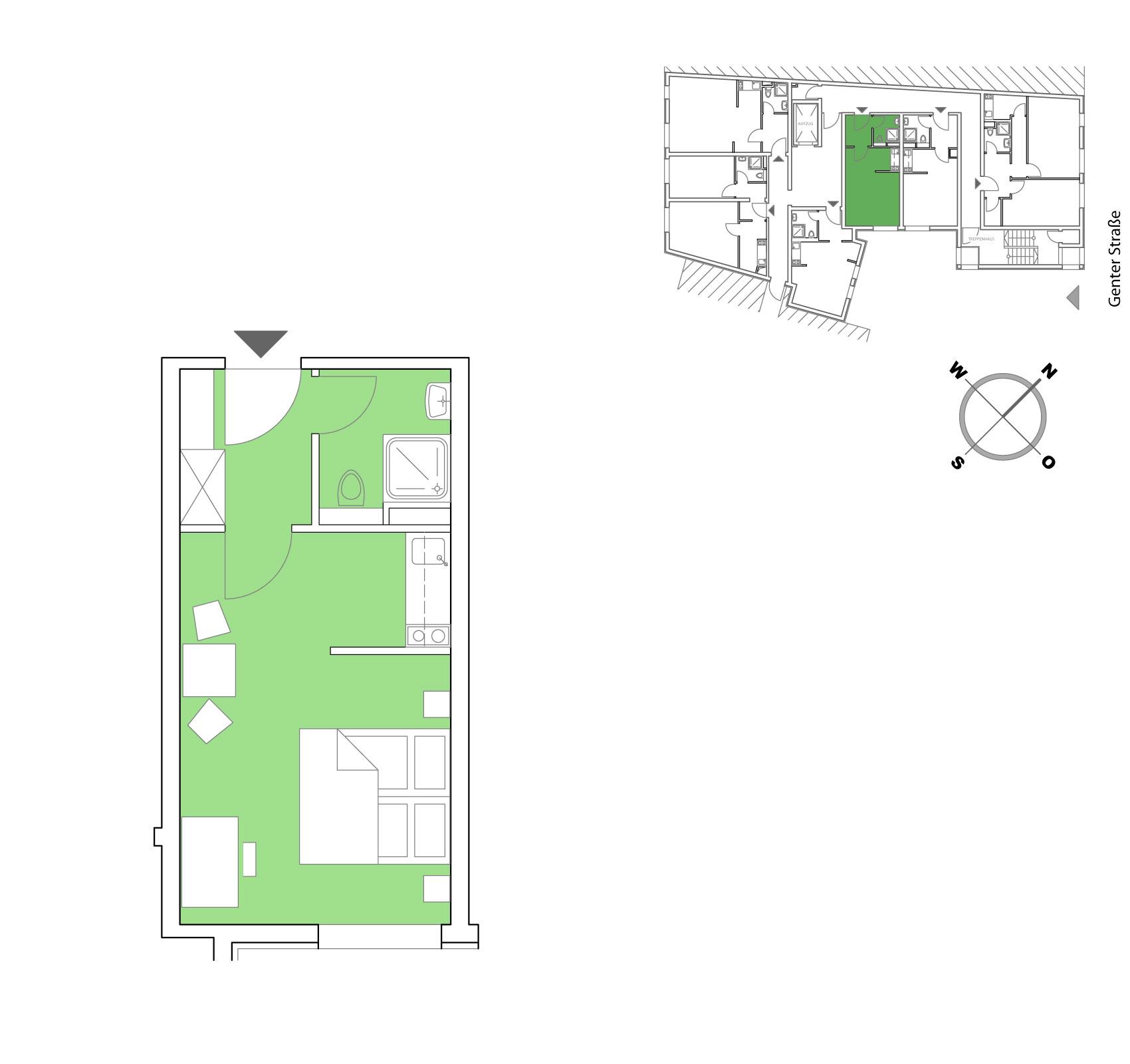 Grundriss Möblierte Apartments in Berlin 25,50 m²